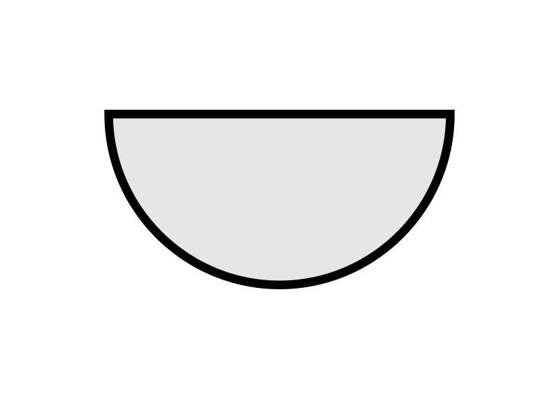 stolové desky: půlkruh