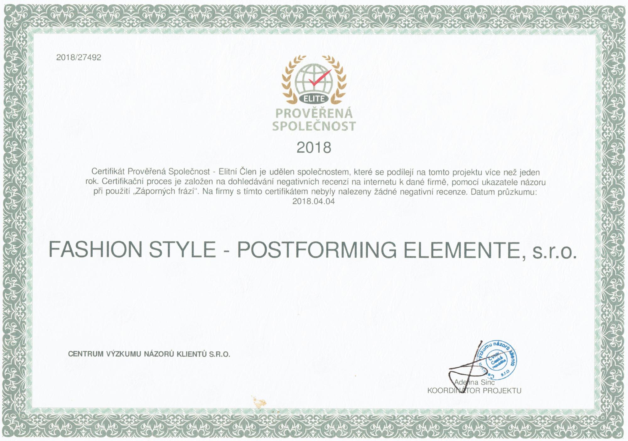 Certifikát Prověřená Společnost 2018